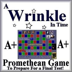 This is a 46 slide A Wrinkle in Time Novel Review Game ActivInspire Flipchart for Promethean.Highlights:Game Board StyleCharacter Pieces, Virtual Dice, and 44 questions and answers from the novel including reading strategies and story elements. A fun way to review for a final test on the novel! You will need a Promethean Board and Promethean Software for this activity.