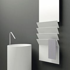 Flaps is formed from a sheet of aluminium, interrupted by a series of folds (flaps) that transform it into a practical towel rail. It is available in two widths and two heights, in over 200 colours, also in an electric version. Electric Towel Rail, Towel Radiator, Heated Towel Rail, Plywood, Small Spaces, Bathroom, Furniture, Workshop, Chairs
