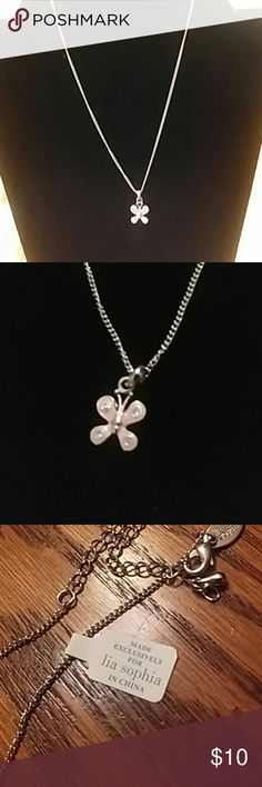 😻EP😻Lia Sophia Pink Butterfly Necklace NEW NEW Silver and pink Butterfly Lia Sophia Brand Jewelry Necklaces