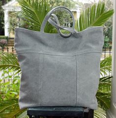 Soft and faded gray stone-washed canvas tote. Handmade in New Orleans. Brown Leather Totes, Leather Bags Handmade, Tote Purse, Cotton Canvas, New Orleans, Pouch, Purses, Gray, Stuff To Buy