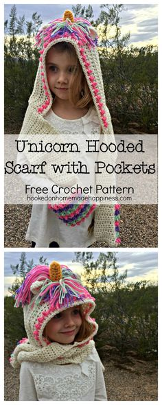 Unicorn Hooded Scarf With Pockets Crochet Pattern Bow Pattern