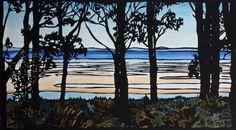 Ten Trees Linocut, Landscape Lino Print, Beach Scene Linocut Print, by trees4thewood on Etsy https://www.etsy.com/au/listing/236705833/ten-trees-linocut-landscape-lino-print