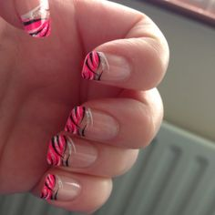 Hot pink tiger nails! Perfect for neon bowling.