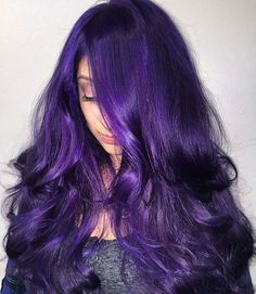 Custom Hair -Done By Maria Santana hair fixation. Snips Salon Riverside Ca Hair Color Purple, Hair Color For Black Hair, Purple Hair Highlights, Neon Purple, Hair Colors, Dye My Hair, New Hair, Medium Hair Styles, Short Hair Styles