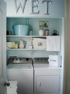 Laundry Room: Shelves For Laundry Room Photo. White Cabinets For Laundry Room. Storage For Small Laundry Rooms. Storage Baskets For Laundry Room. Cabinets For Laundry Room. Closet Doors For Laundry Room. Laundry Nook, Laundry Room Wall Decor, Laundry Room Shelves, Laundry Room Remodel, Laundry Room Cabinets, Laundry Closet, Laundry Room Organization, Laundry Room Design, Organization Ideas