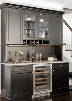 Built-in bar, with small drink fridge | The Wonders of Creativity.