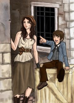 Eponine and Gavroche. Les Miz is a tradition breaker. Traditionally, it's hide the women and the children. At the barricade, they're the first to die. :'( (This artwork is beautiful by the way)