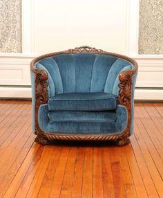 Vintage chair; blue velvet upholstery; art deco