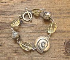 Beach Inspired Boho Luxe Bracelet, .925 Hill Tribe Silver Seashell Bracelet