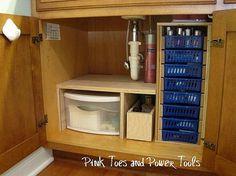 Custom DIY under cabinet bathroom storage