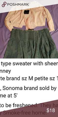 Ladies nwt cardigan sz M & pleated Jean skirt sz 8 See 2nd photo, they are petites.  Price includes cardigan and Jean skirt but the brand, size and price info i clicked relates to the cardigan.   The Jean skirt is used. Apostrophe Sweaters Cardigans