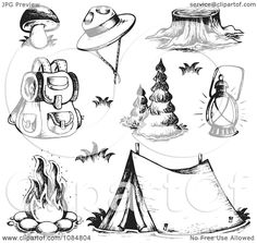 Clipart Sketched Drawings Of Camping Gear