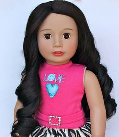 Our dark haired Harmony Club Dolls Brand 18 inch doll, Melody Rose is available on our shopping website www.harmonyclubdolls.com Melody Rose is the same size as American Girl 18 inch Dolls and has a soft body, open and close eyes and poseable limbs. Our Melody Rose wears a premium kanekalon hair wig.