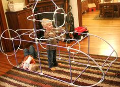 The ultimate way to build a fort! Using the Fort Magic fort building kit! Or save $$ and put together your own kit using PVC pipes and connectors. Forts can then be covered with sheets, etc.