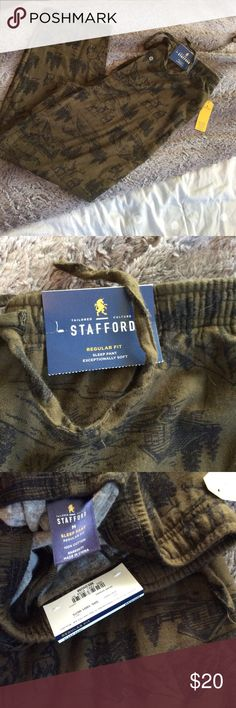 NWT Stafford sleep pants for men! These super comfy sleep pants are brand new and have a fun wilderness print showing a deer, the mountains and a cabin in an army green color.  Size medium! Stafford Pants Sweatpants & Joggers
