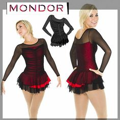New Competition Skating Dress CM 8/10 Black Mesh Red Mondor 635! Akkk My dress! So excited!