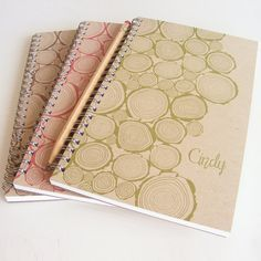 Kraft Logs Personalized Notebook Set Choice of by lettercdesign, $21.00