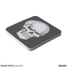 Metallic Skull Square Paper Coaster