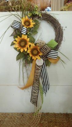Sunflower Grapevine Wreath with Burlap Bow by GreeneCountyFlorist, $60.00