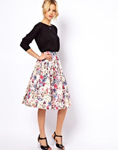 Midi skirt with sweater: ASOS Midi Skirt in Floral Jewel Print