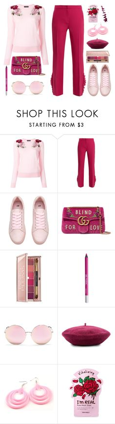 """""""Blind for love"""" by deeyanago ❤ liked on Polyvore featuring Dolce&Gabbana, N°21, Gucci, Estée Lauder, Urban Decay, Matthew Williamson, Brixton, TONYMOLY and pastelsweaters"""