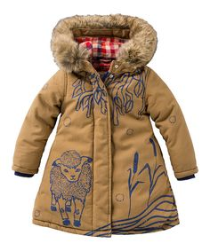 Look at this Oilily Brown Canvas Faux Fur Trim Hooded Puffer Coat - Toddler & Girls on #zulily today!
