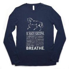 "Long Sleeve ""Breathe"" Dressage Tee in Navy (Juniors' Fit)"