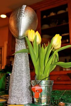 Lombardi Trophy....sort of! Simple and easy to make, but dramatic enough for party décor.