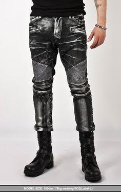 Bottoms :: Super-unique & Stylish Ice Wash Denim Black Biker Jeans - jean 22 - New and Stylish - Fast Mens Fashion - Mens Clothing - Product