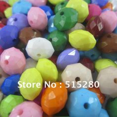 Newest Chunky Necklace Beads 14mm Acrylic Rondelle Beads Solid Mixed Colors 820pcs