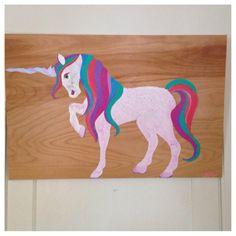 """Rainbow""  Painting on wood panel.  SOLD.  #unicorn #art #pony"