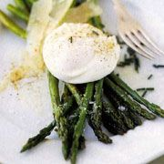 Asparagus with Poached Eggs & Shaved Parmesan- one of my favorite quick light dinners EVER.
