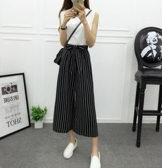 Fashion Summer Wide Leg Pants Women High Waist Plaid Striped Loose Palazzo  Pants Elegant Office Ladies Trousers 2529e59b2463