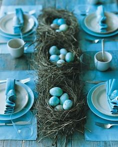 robin's egg blue decor with little nests as centerpieces