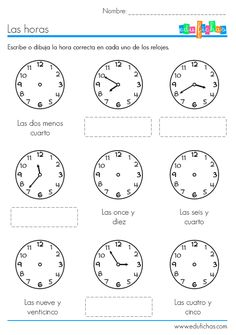 ejercicio para aprender las horas Spanish Teaching Resources, Spanish Activities, Spanish Lessons, Teaching English, Math Activities, Learn Spanish, Math For Kids, Lessons For Kids, Telling Time In Spanish