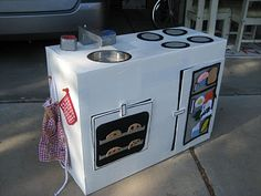 Cardboard Box Kitchen....you could make a american girl doll kitchen....out of a cardboard box!!:)