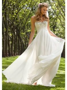 2015 A-line Empire Waist Sweetheart Sweep/Brush Train Chiffon Ruffles Wedding Dress In Canada Wedding Dress