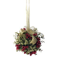 Mistletoe Door Decor Kiss Ball ❤ liked on Polyvore featuring home, home decor, holiday decorations, plastic ball ornaments, green home decor, leaf ornaments, green ornaments and holiday door decorations