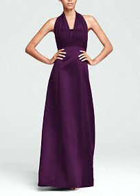 Satin Empire Ball Gown with Illusion Halter- Sara and I wore this dress for our cousins wedding and it is the only bridesmaid dress I have seen that was super flattering on everyone.  It is much prettier in person and comes is a great blue.