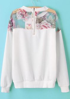 The sweatshirt featuring floral organza paneled yoke. Hot Outfits, Fashion Outfits, Sweater Hoodie, Pullover, Online Shopping Clothes, Floral, Sweatshirts, Hoodies, Sweaters