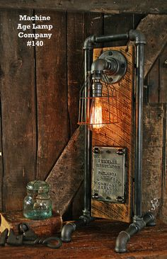 Steampunk Industrial Lamp Antique Boiler Door - #140 SOLD