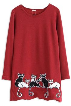 The sweatshirt featuring whimsical cat pattern to bottom. Fashion Sweatshirts, Cat Pattern, Whimsical, Tunic, Women's Fashion, Hoodies, Long Sleeve, Sleeves, Sweaters