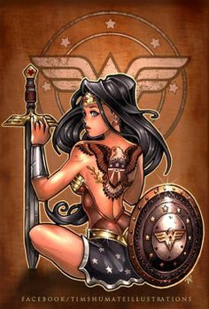Tim Shumate pin up Wonder Woman tattoo idea. Comic Book Characters, Comic Character, Comic Books Art, Comic Art, Book Art, Anime Sexy, Superman, Batman, Super Heroine