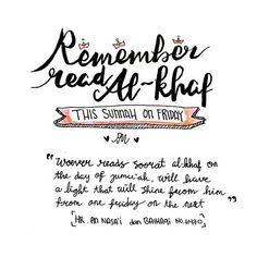 """Barangsiapa yang membaca surat Al Kahfi pada hari Jum'at, dia akan disinari cahaya di antara dua Jum'at."" . (HR. An Nasa'i dan Baihaqi. Syaikh Al Albani mengatakan bahwa hadits inishohihsebagaimana dalam Shohihul Jami' no. 6470) .  By @putmeilani  #duniajilbab #putmeilaniart #design #its #friday #sunnah #alkhaf #read #remember"