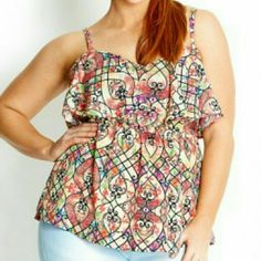Venetian Print Top L=20W Highlighted by a gorgeous venetian all over print, this top features a sweetheart neckline with a soft overlay, tin adjustable straps, shirred panel on back for extra comfort and support, empire waist and is lined.  OUTER: 100% POLYESTER LINING: 100% POLYESTER  Plus: XS=14W, S=16W, M=18W, L=20W, XL=22W, XXL=24W. City Chic Tops