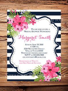 Floral Bridal shower Invitation Pink Navy by StellarDesignsPro