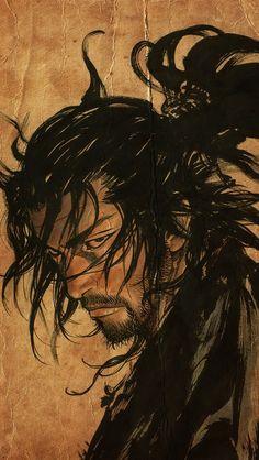 Manga Vagabond by INOUE Takehiko, Japan. Manga 35 chapters, portraying a fictionalized account of Miyamoto Musashi's life. Art Anime, Manga Art, Manga Anime, Male Manga, Manga Vagabond, Samurai Artwork, Samurai Drawing, Miyamoto Musashi, Samurai Tattoo