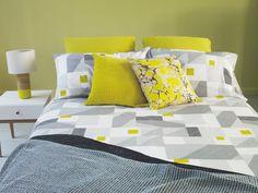 RUKIN Grey geometric patterned double duvet cover set