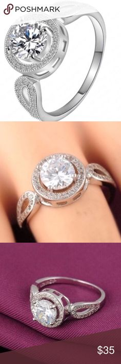 ⚡️SALE⚡️18k Platinum Plated Halo Zircon Engagement This Super Sparkly Ring Is Stamped .925 Sterling Silver With AAA White Zircon. The Surface Is 18k Platinum White Gold Plated. Boutique Jewelry Rings
