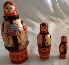 Estate Sale – Vintage Wooden 3 Part Nesting Doll Babushka Doll Made in USSR | eBay
